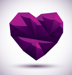 Violet heart geometric icon made in 3d modern vector