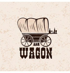 wagon western bar grunge concept design template vector image