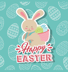 white rabbit with basket in back happy easter eggs vector image