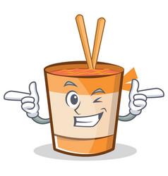 Wink cup noodles character cartoon vector