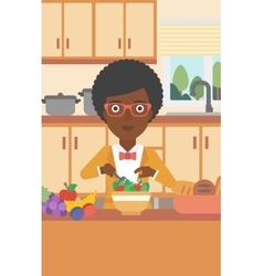 Woman cooking vegetable salad vector image