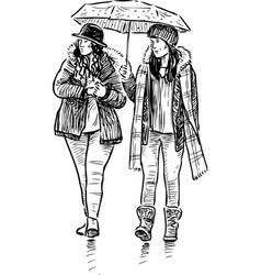 Women under an umbrella vector