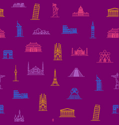world landmarks signs thin line seamless pattern vector image