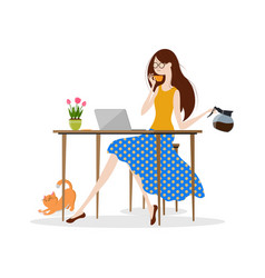 Young woman drinking coffee and working on laptop vector