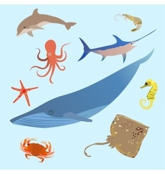 Cute ocean animals simple creatures Octopus vector image