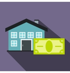 House and banknote icon flat style vector image vector image