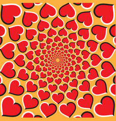 optical background red hearts are moving vector image vector image