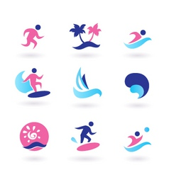 water sport and vacation icons vector image vector image
