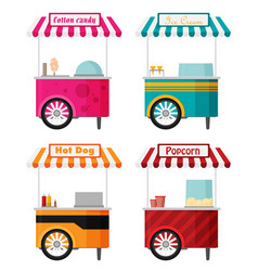 carts set retail kiosk on wheels flat vector image vector image