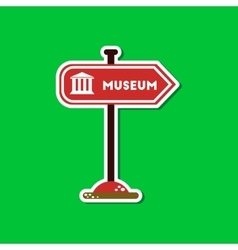 Paper sticker on stylish background museum sign vector