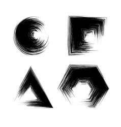 Set of Black Grunge Shapes vector image