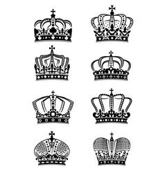 Set of vintage heraldic royal crowns vector