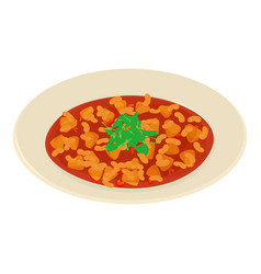 soup in plate icon isometric style vector image