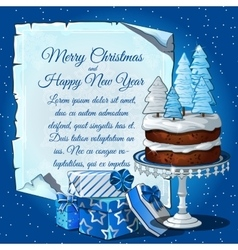 Christmas cake with snow tree gift boxes vector image vector image
