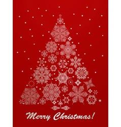 christmas greeting card with fir tree vector image