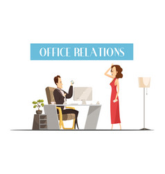 office relations cartoon style design vector image