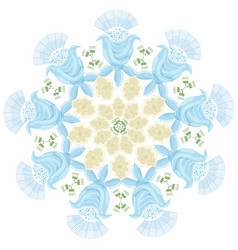 ornament of blue graphic abstract flowers and buds vector image