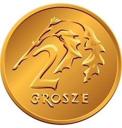 Reverse polish money two groszy copper coin vector