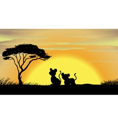 tiger and cub in a beautiful nature vector image vector image