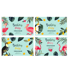 4 tropical hawaiian posters with exotic birds vector image vector image
