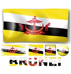 Brunei flag in different designs vector image vector image