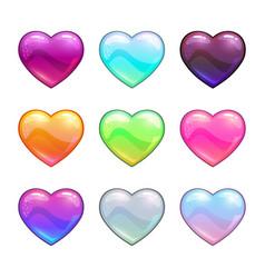 cartoon colorful glossy hearts vector image