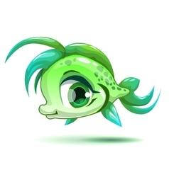 Cute cartoon little green girl fish vector image vector image