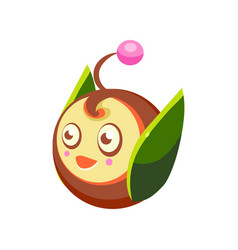 cute fantastic plant character round shape nature vector image vector image
