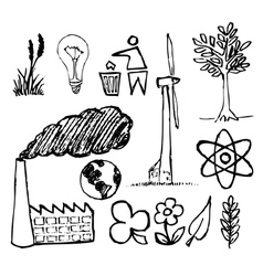 ecology doodle icons vector image vector image