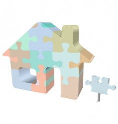 home jigsaw puzzle with sign vector image