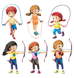 Kids with different hobbies vector image vector image