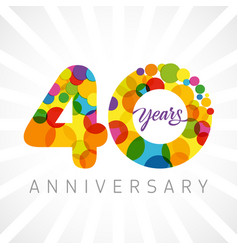 40 years bubbles ribbon colorful logo vector image
