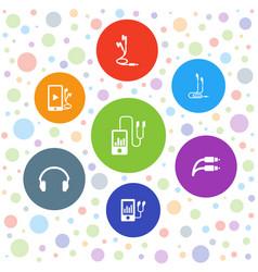 7 earphones icons vector