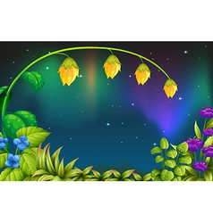 A garden with green plants and fresh flowers vector