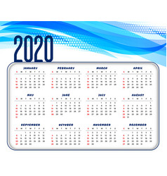 abstract blue and white 2020 calendar template vector image