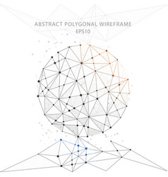 abstract globe polygonal wire frame on white vector image