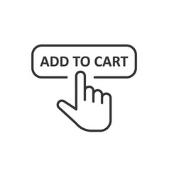 add to cart shop icon in flat style finger cursor vector image