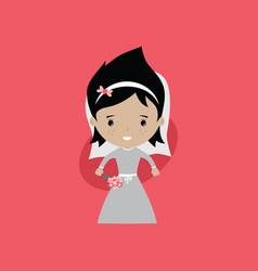Adorable bride lovely marriage cartoon theme vector