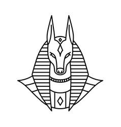 Anubis logo line art outline monoline vector