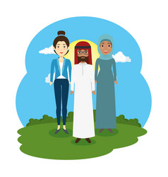 arabic couple with woman in the landscape scene vector image