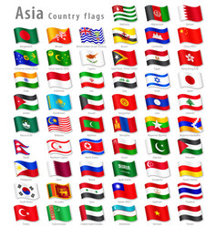 Asian national flag set vector