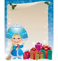 Background with Snow Maiden vector image vector image