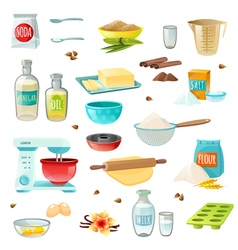 Baking Ingredients Colored Icons vector