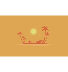Beach scenery at sunrise silhouettes vector