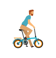 bearded man riding bike cyclist character on vector image