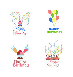 Birthday logo design collection vector