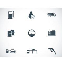 black gas station icons set vector image
