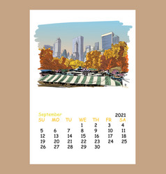 Calendar sheet new york september month 2021 year vector