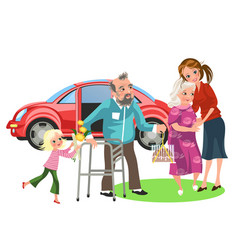 Cartoon poster happy family helping disabled vector