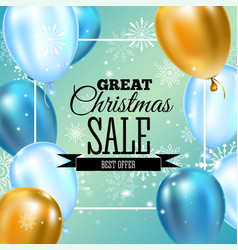 christmas sale banner template typography golden vector image